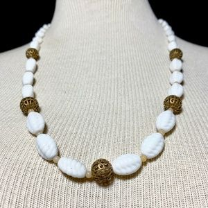 Vintage White Poured Milk Glass Beaded Necklace